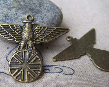 Accessories - 10 Pcs Of Antique Bronze Lovely Eagle Badge Charms Pendants 30x40mm A2808