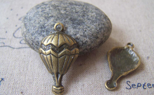 Accessories - 10 Pcs Of Antique Bronze Lovely Hot Air Balloon Charms 16x30mm A4274
