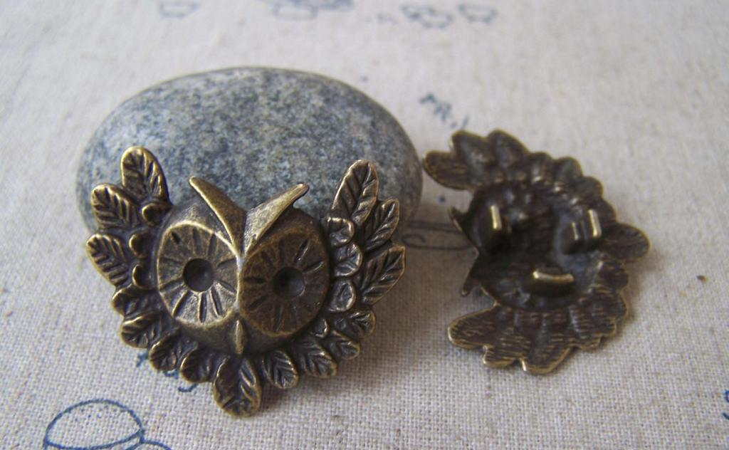Accessories - 10 Pcs Of Antique Bronze Lovely Owl  Pendants 30x35mm A4682