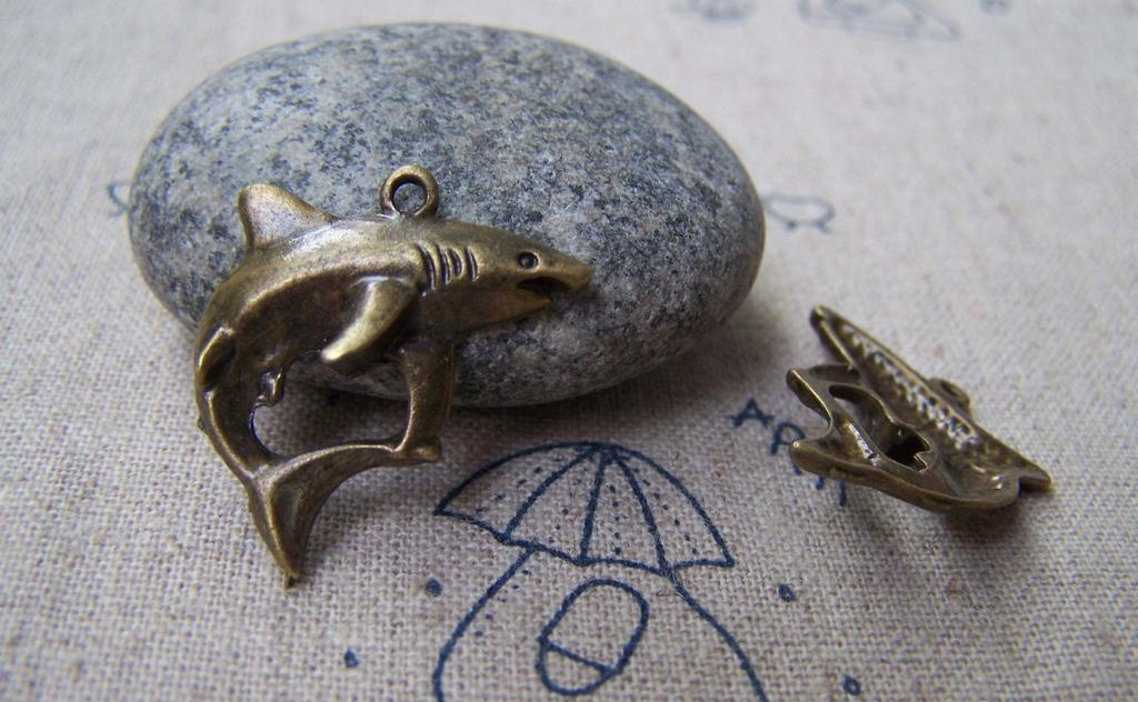 Accessories - 10 Pcs Of Antique Bronze Lovely Shark Charms 20x24mm A3353