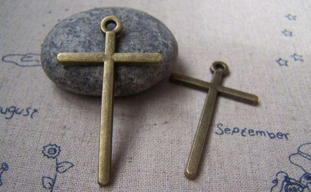 Accessories - 10 Pcs Of Antique Bronze Lovely Smooth Cross Pendant 30x48mm A3874