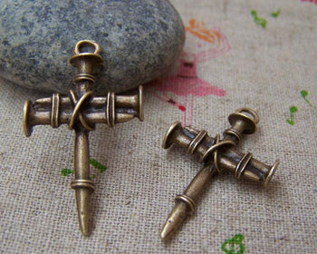 Accessories - 10 Pcs Of Antique Bronze Nail Cross Charms Pendants 19x35mm  A1419