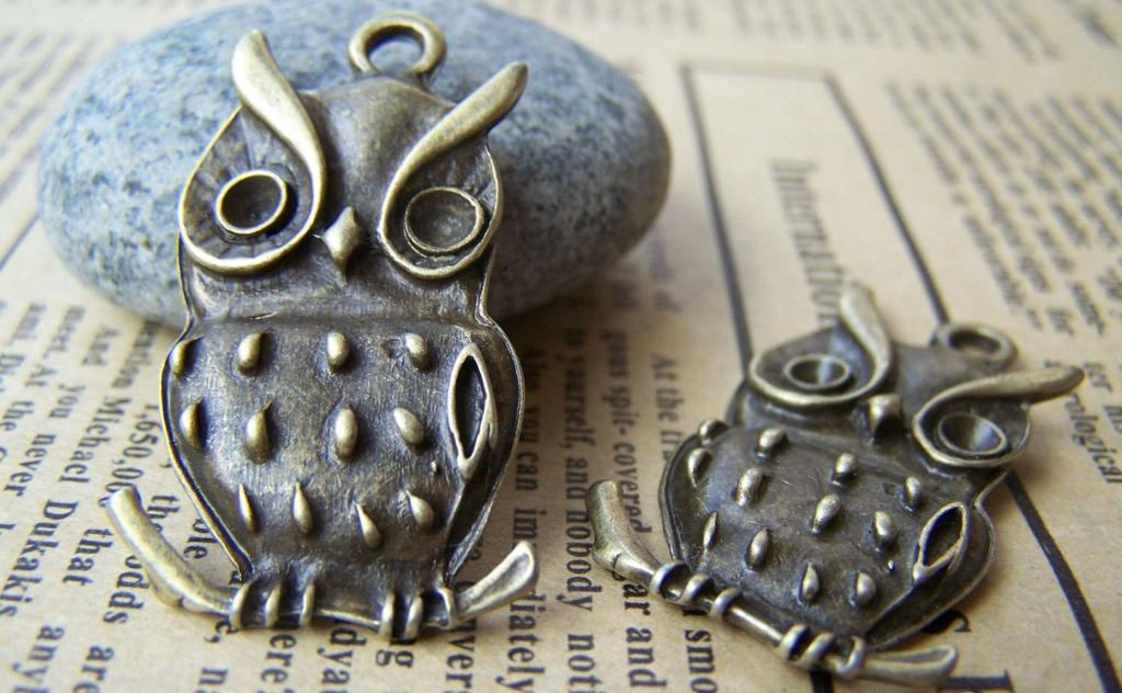 Accessories - 10 Pcs Of Antique Bronze Owl Pendants Charms 19x38mm A141