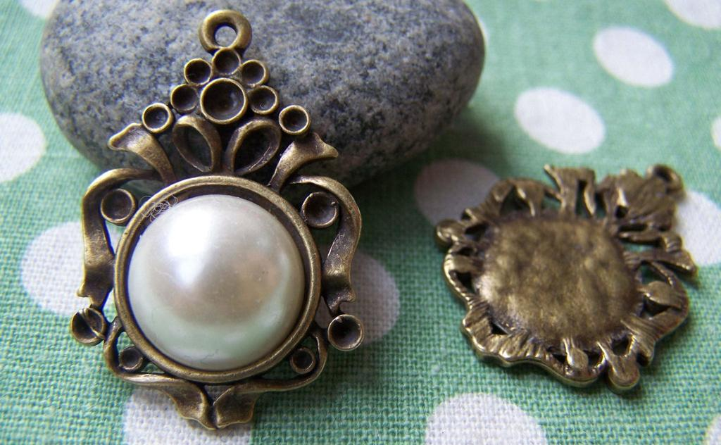 Accessories - 10 Pcs Of Antique Bronze Round Cameo Base Settings Match 14mm Cabochon  A3167