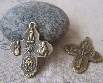 Accessories - 10 Pcs Of Antique Bronze Scapular Cross Charms 23x29mm Double Sided A454