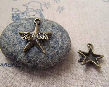 Accessories - 10 Pcs Of Antique Bronze Star Wings Charms 18mm A5217