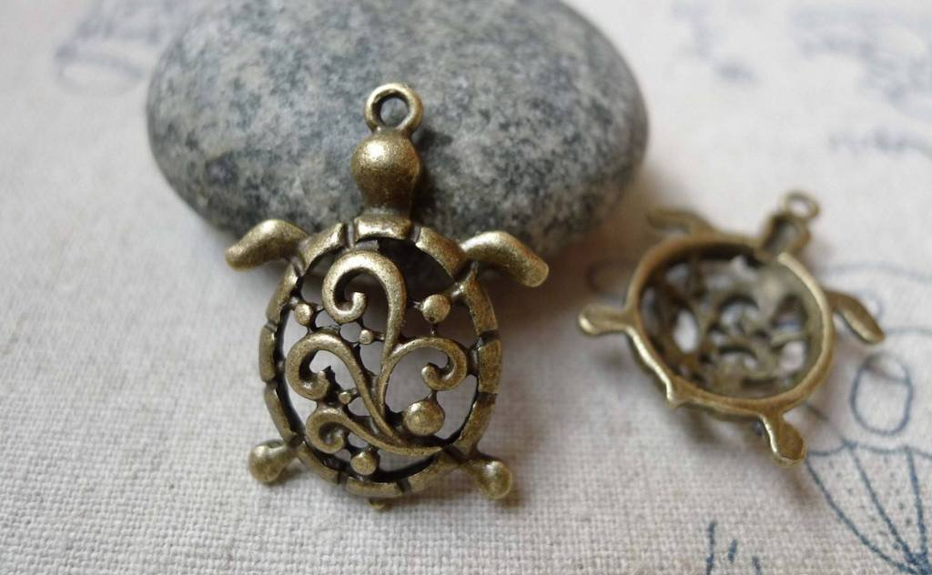 Accessories - 10 Pcs Of Antique Bronze Swirly Flower Filigree Sea Turtle Charms 21x28mm A6083