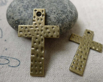Accessories - 10 Pcs Of Antique Bronze Textured Cross Charms Pendants 19x31mm  A5981