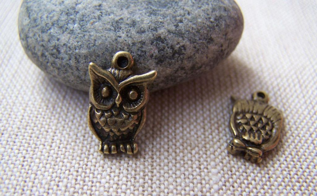 Accessories - 10 Pcs Of Antique Bronze Tiny Owl Charms 10x16mm A121