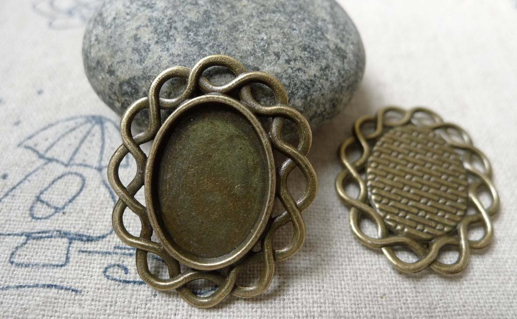 Accessories - 10 Pcs Of Antique Bronze Twisted Edge Oval Base Settings Match 13x18mm Cabochon A5998