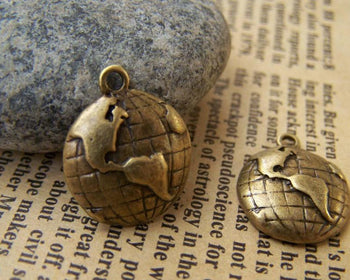 Accessories - 10 Pcs Of Antique Bronze World Map Round Charms 15mm A1484