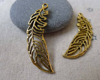 Accessories - 10 Pcs Of Antique Gold Filigree Feather Wing Charms 12x36mm A7365