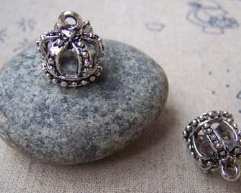 Accessories - 10 Pcs Of Antique Silver 3D Crown Charms 12x13mm A1361