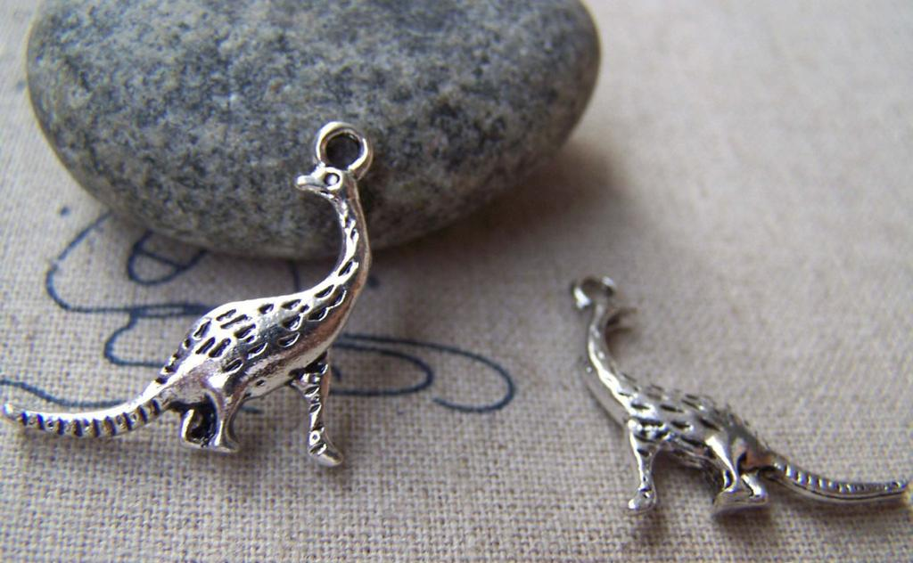 Accessories - 10 Pcs Of Antique Silver 3D Dinosaur Charms 22mm A1157