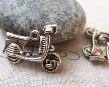 Accessories - 10 Pcs Of Antique Silver 3D Motorcycle Motor Scooter Charms 22mm A5782