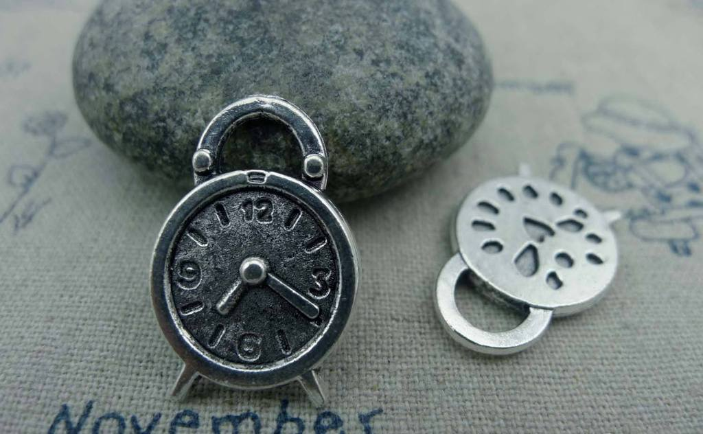 Accessories - 10 Pcs Of Antique Silver Alarming Clock Charms 16x24mm A1322