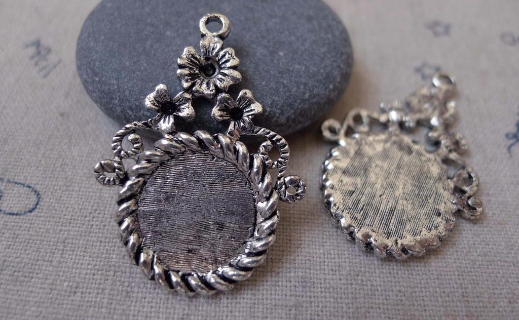 Accessories - 10 Pcs Of Antique Silver Coiled Edge Flower Cameo Bezel Base Settings Match 14mm Cabochon A3202