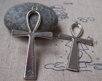 Accessories - 10 Pcs Of Antique Silver Egyptian Ankh Cross Charms Huge Size 29x55mm A886