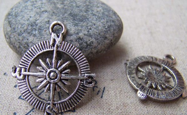 Accessories - 10 Pcs Of Antique Silver Filigree Compass Charms Pendants 25mm A1280