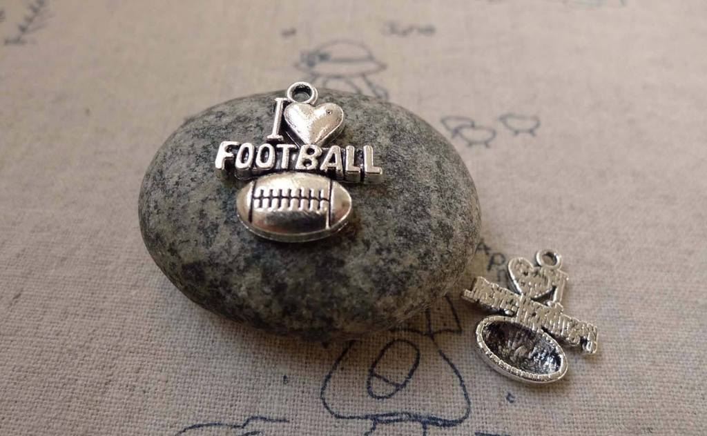 Accessories - 10 Pcs Of Antique Silver Football Charms 18x20mm A6244
