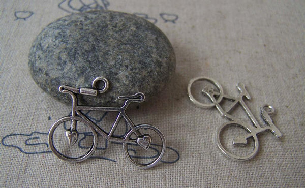 Accessories - 10 Pcs Of Antique Silver Heart Bike Bicycle Charms 23x31mm A3265