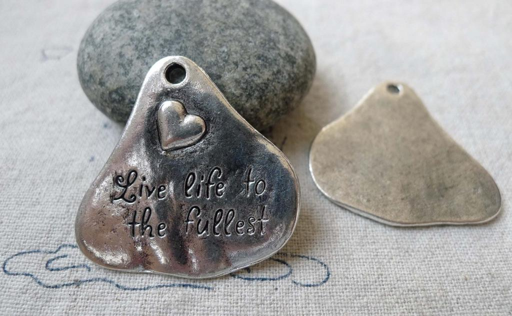 Accessories - 10 Pcs Of Antique Silver Irregular Heart Pendants 33x34mm A6611