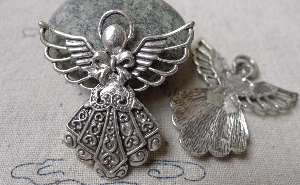 Accessories - 10 Pcs Of Antique Silver Lovely Angel Charms Pendants 38x42mm A6876