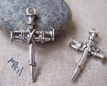 Accessories - 10 Pcs Of Antique Silver Nail Cross Charms Pendants 19x35mm A884