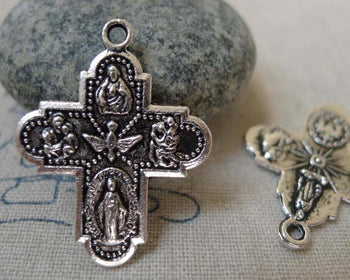 Accessories - 10 Pcs Of Antique Silver Scapular Cross Charms 23x29mm Double Sided A5939