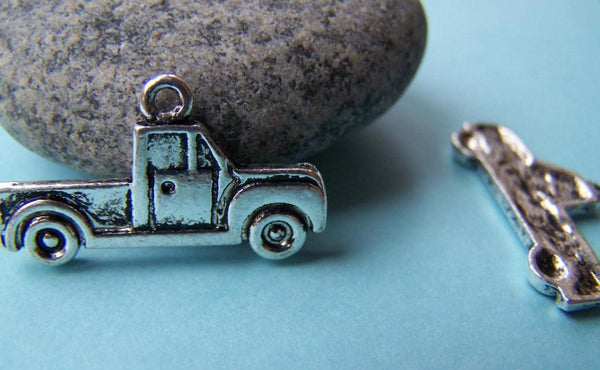 Accessories - 10 Pcs Of Antique Silver Truck Pendants Charms 15x26mm A933
