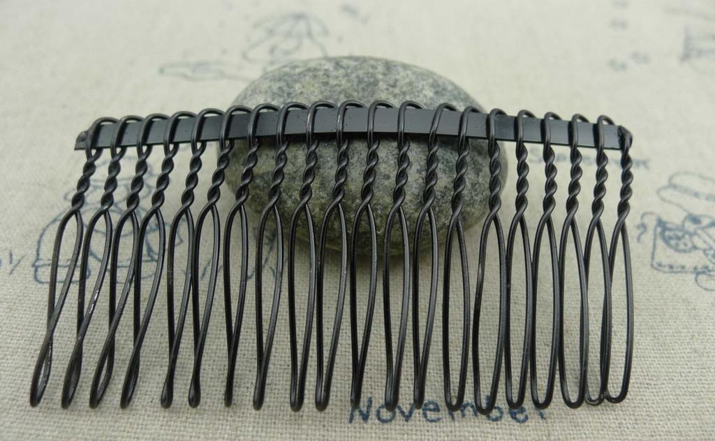 Accessories - 10 Pcs Of Black Painted Metal 20 Teeth Hair Clips 39x75mm A1957
