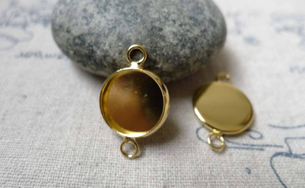Accessories - 10 Pcs Of Gold Tone Brass Base Settings Connnector Match 12mm Cabochon A6021