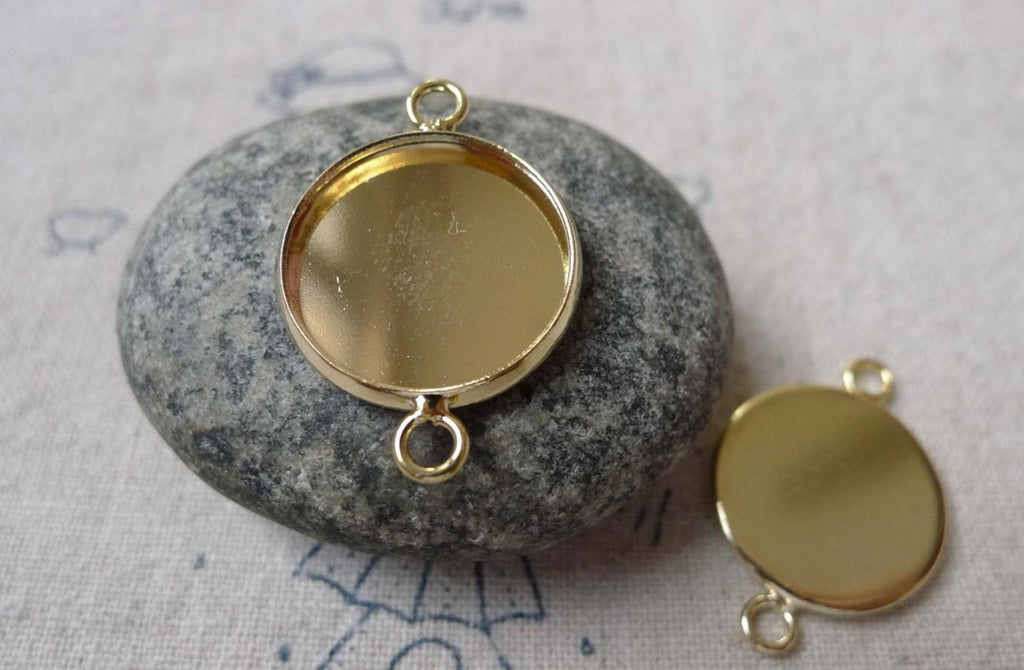 Accessories - 10 Pcs Of Gold Tone Brass Base Settings Connnector Match 16mm Cabochon A6826