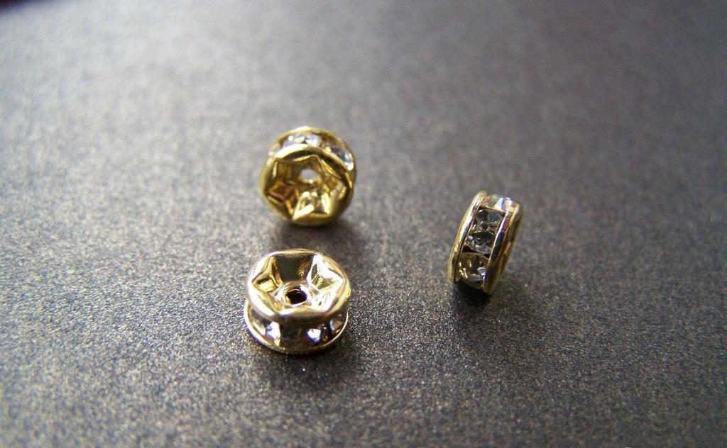 Accessories - 10 Pcs Of Gold Tone Rondelle Clear Rhinestone Spacer Beads 6mm A2144