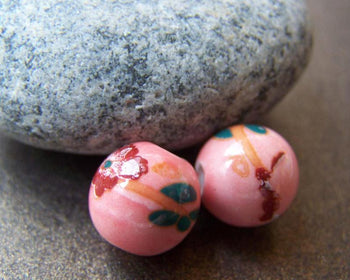 Accessories - 10 Pcs Of Hand Painted Red Flower Green Leaf Pink Ceramic Beads 10mm A1891