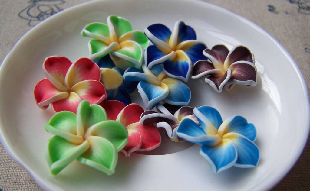 Accessories - 10 Pcs Of Polymer Clay Five Leaf Flower Cabochon Assorted Color  20mm A3618