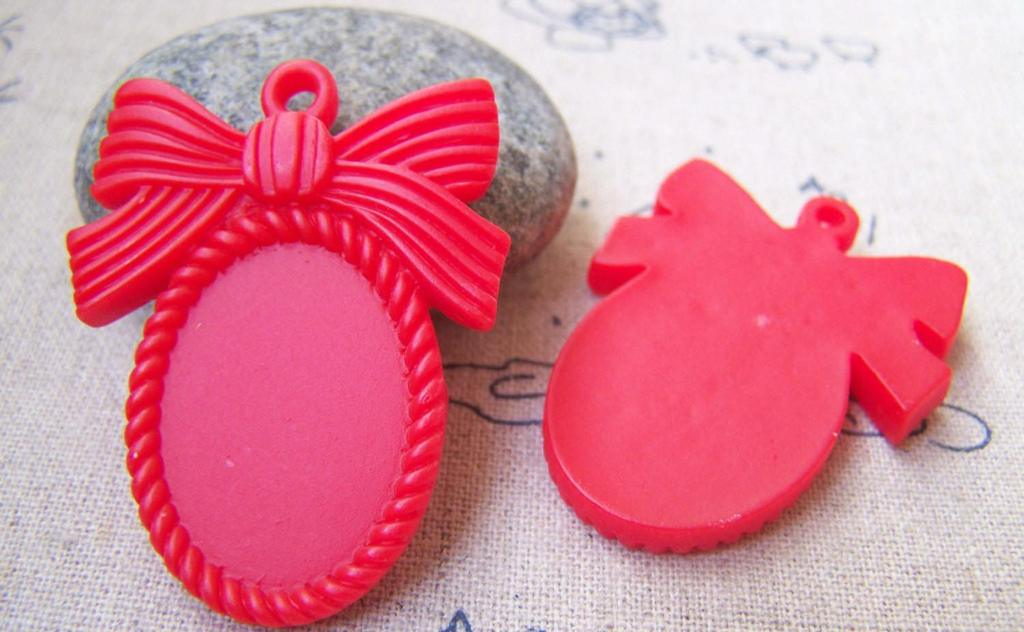 Accessories - 10 Pcs Of Resin Red Oval Bow Tie Knot Cameo Cabochon Base Settings Match 18x25mm A3073