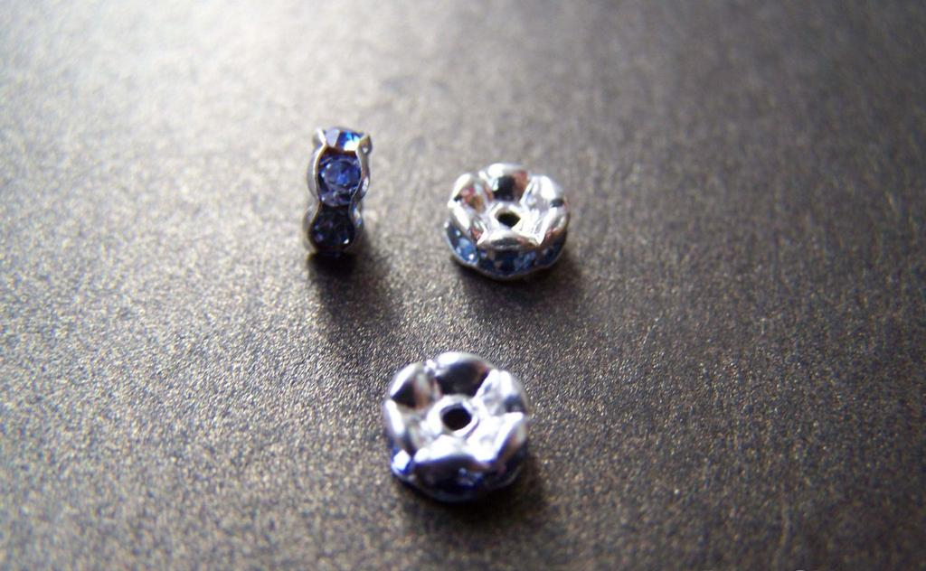 Accessories - 10 Pcs Of Silver Tone Blue Rhinestone Rondelle Spacer Beads 6mm A2805