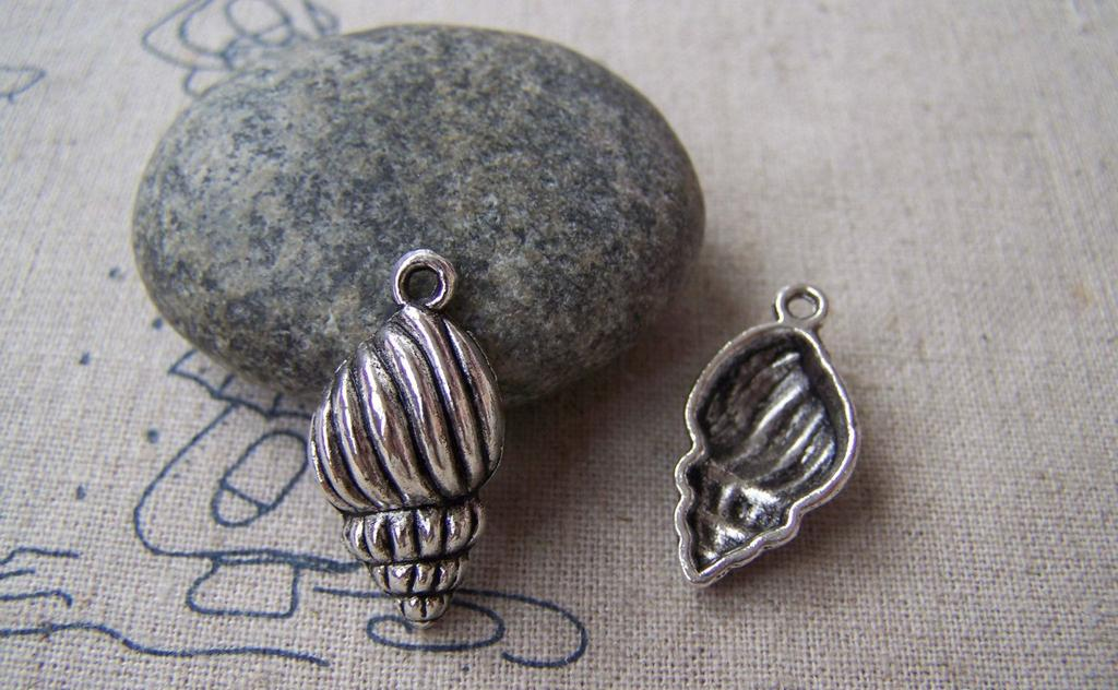 Accessories - 10 Pcs Of Tibetan Silver Antique Silver Conch Sea Snail Charms 13x21mm A1219