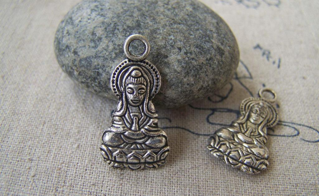 Accessories - 10 Pcs Of Tibetan Silver Antique Silver Goddess Of Mercy Guanyin Buddha Charms 14x26mm Double Sided A2685