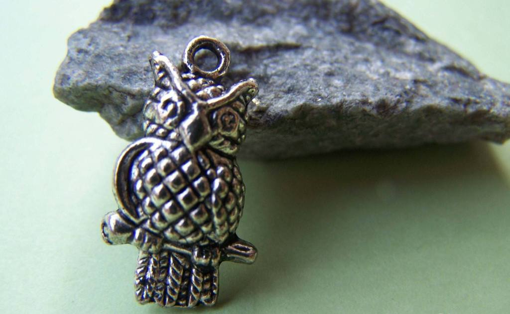 Accessories - 10 Pcs Of Tibetan Silver Antique Silver Lovely Owl Charms 12.5x21.5mm A1856