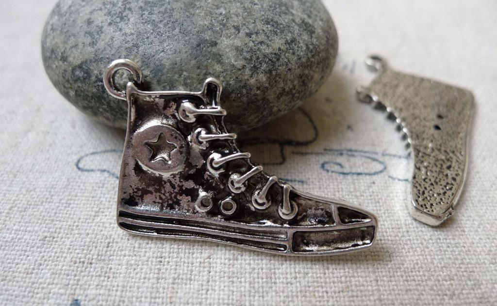 Accessories - 10 Pcs Of Tibetan Silver Antique Silver Sneaker Shoes Charms 20x32mm A4769