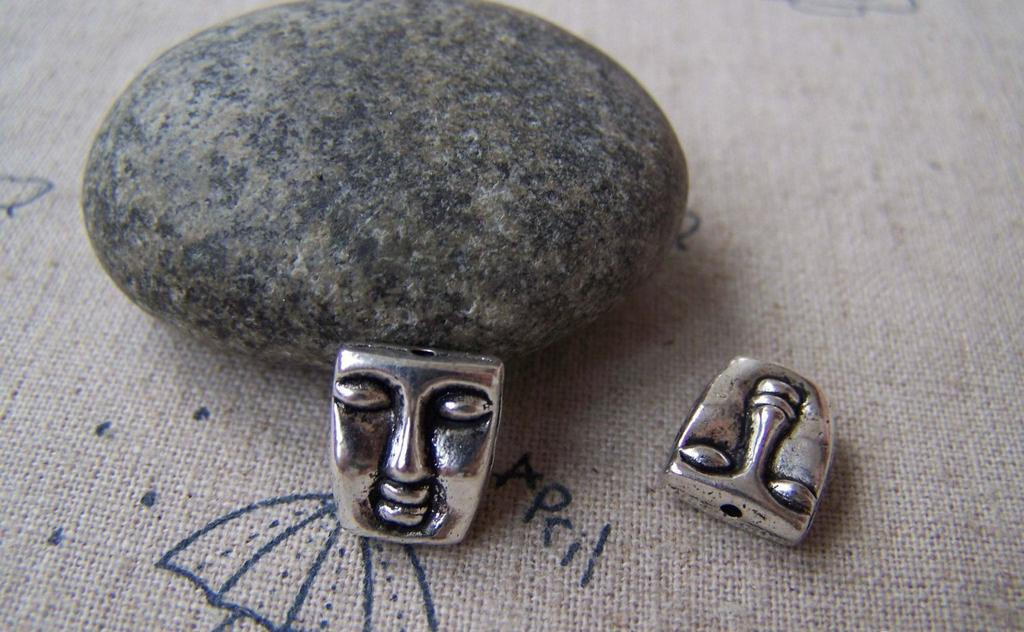 Accessories - 10 Pcs Of Tibetan Silver Lovely Lady's Face Spacer Beads Charms 10x12mm A4089