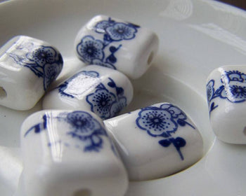 Accessories - 10 Pcs Rondelle Rectangular Blue Peony Flower Ceramic Beads 15x18mm A1866