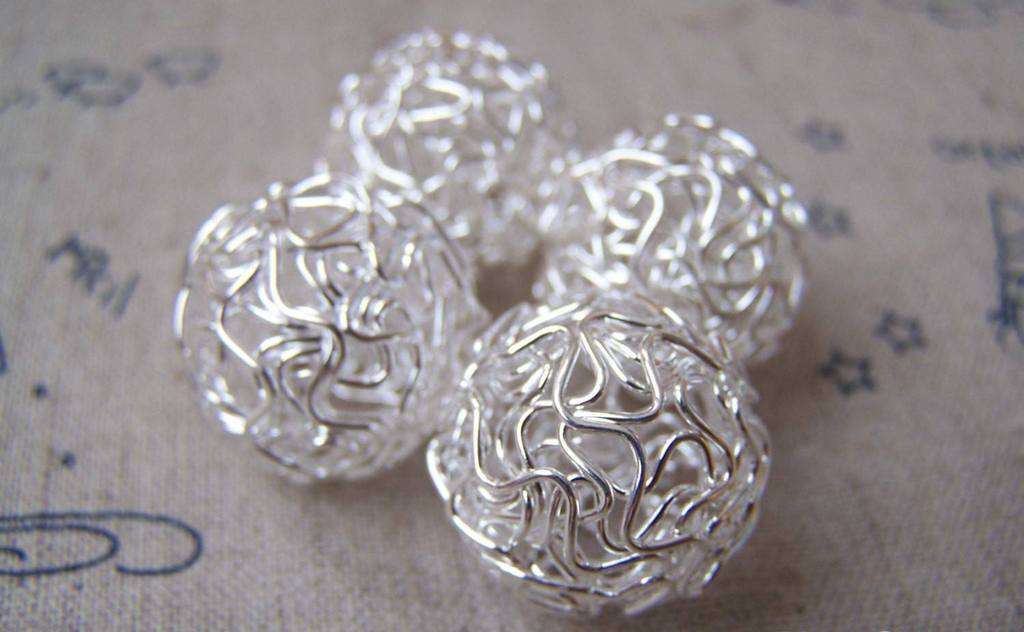 Accessories - 10 Pcs Silver Tone Iron Wire Knots Ball Beads Size 20mm A3491