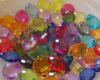 Accessories - 100 Pcs Of Acrylic Faceted Drop Beads 7x10mm Mixed Color A5287