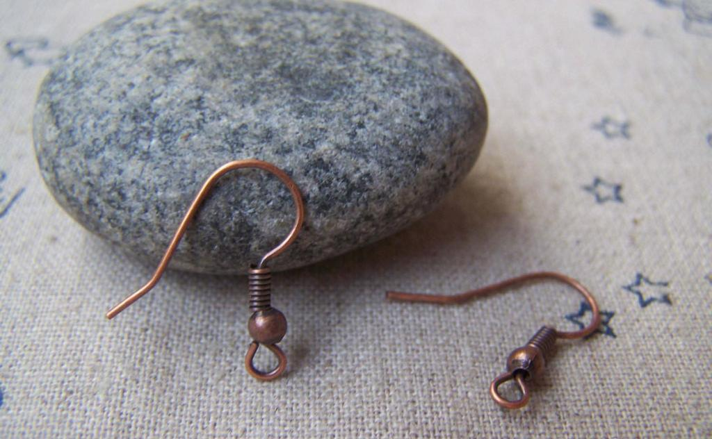 Accessories - 100 Pcs Of Antiqued Copper Fish Ball Hook Earwire Findings 18mm A3012