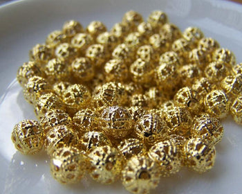 Accessories - 100 Pcs Of Gold Tone Filigree Ball Spacer Beads Size 6mm A232