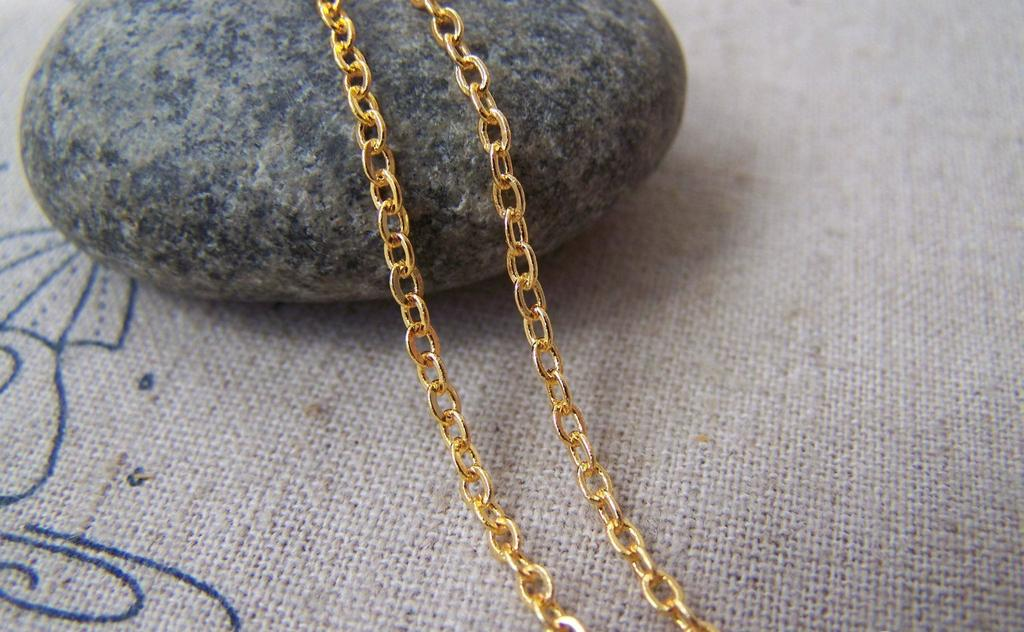 Accessories - 16ft (5m) Of 16K Gold Plated Non Tarnish Brass Flat Oval Cable Chain Link 2mm A5020