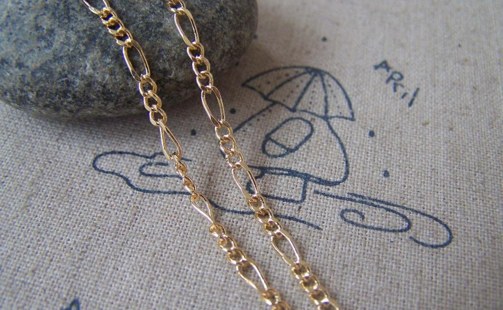 Accessories - 16ft (5m) Of Non Tarnish Rose Gold Tone Brass Figaro Chain 2.5x6mm A2008